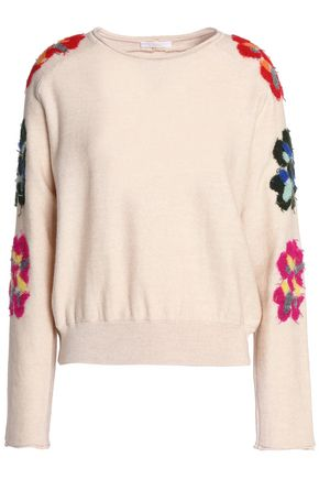 CHLOÉ Appliquéd wool-blend sweater