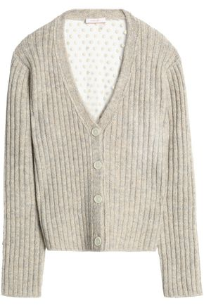 SEE BY CHLOÉ Paneled marled ribbed-knit and embroidered tulle cardigan