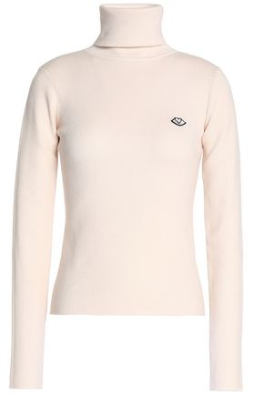 SEE BY CHLOÉ Appliquéd ribbed cotton-blend turtleneck sweater
