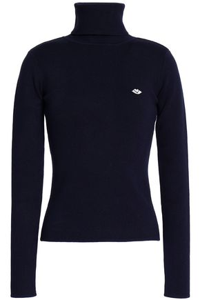 SEE BY CHLOÉ Embroidered cotton-blend turtleneck sweater