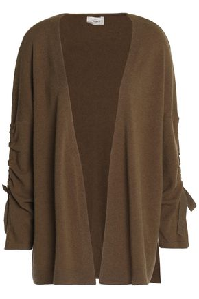 CHARLI Bow-detailed draped wool and cashmere-blend cardigan
