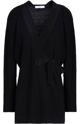 SANDRO Paris Manon cotton, silk and cashmere-blend wrap cardigan