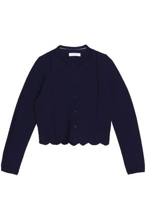 SANDRO Paris Scalloped ponte-knit cardigan