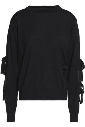 LOVE MOSCHINO Cutout bow-embellished wool-blend sweater