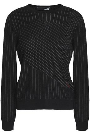 LOVE MOSCHINO Embroidered pinstriped stretch-knit sweater