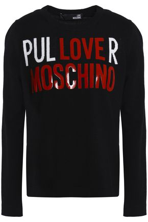 LOVE MOSCHINO Appliquéd intarsia-knit sweater