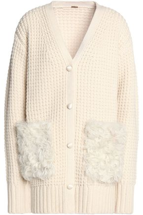 ADAM LIPPES Shearling-appliqued wool and cashmere blend waffle-knit cardigan