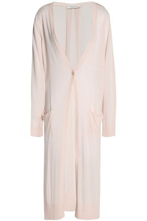 HALSTON HERITAGE Chiffon-paneled stretch-knit cardigan