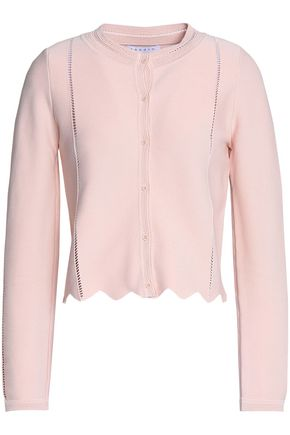SANDRO Paris Diane scalloped stretch-knit cardigan