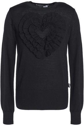 LOVE MOSCHINO Ruffle-trimmed wool sweater