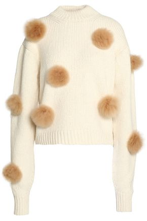 TIBI Pom pom-embellished alpaca-blend sweater