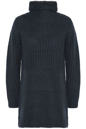 MICHELLE MASON Paneled ribbed-knit turtleneck sweate