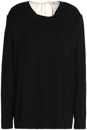 SANDRO Ipolit crepe de chine-paneled cotton, silk and cashmere-blend top
