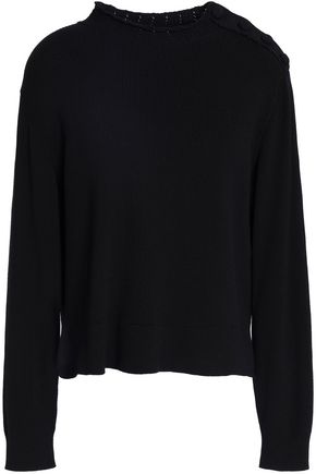 SANDRO Alma button-detailed ribbed cotton sweater