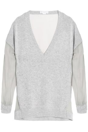 AMANDA WAKELEY Paneled georgette and mélange cashmere sweater