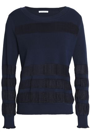 SANDRO Vera mesh-paneled stretch-knit sweater