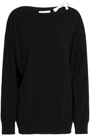 SANDRO Paris Bow-detailed wool and cashmere-blend sweater