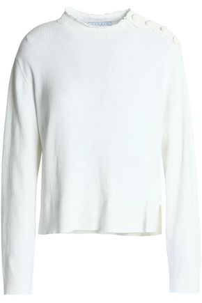 SANDRO Paris Alma button-detailed ribbed cotton sweater