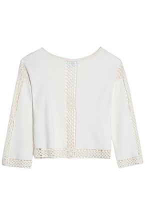 SANDRO Paris Crochet-trimmed knitted top