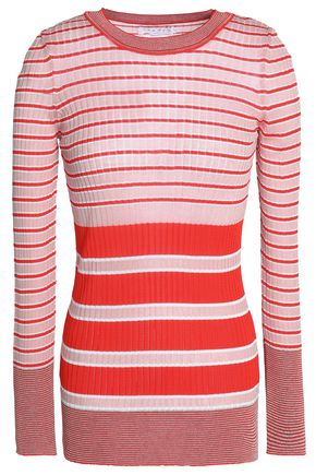 SANDRO Paris Striped ribbed stretch-knit top