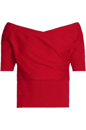MICHELLE MASON Draped stretch-knit top