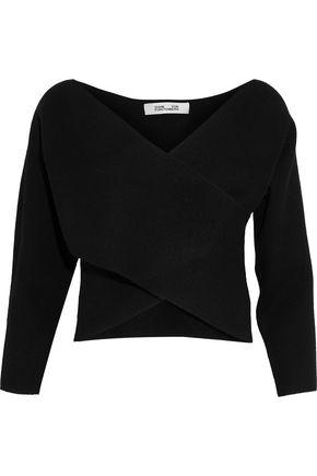 DIANE VON FURSTENBERG Wrap-effect cropped cashmere sweater