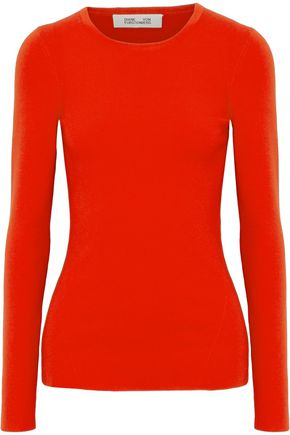 DIANE VON FURSTENBERG Cutout ribbed merino wool-blend sweater