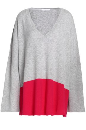 AMANDA WAKELEY Two-tone cashmere top