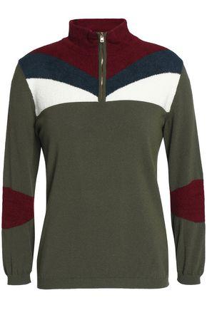 STELLA JEAN Color-block stretch-knit sweater