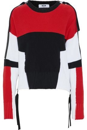 MSGM Zip-detailed color-block cotton sweater