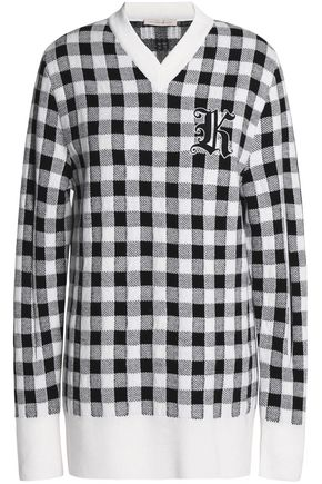 CHRISTOPHER KANE Appliquéd checked wool and cashmere-blend sweater
