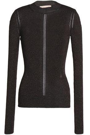 CHRISTOPHER KANE Metallic pointelle-knit sweater