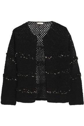 JOIE Sequin-embellished open-knit cotton cardigan