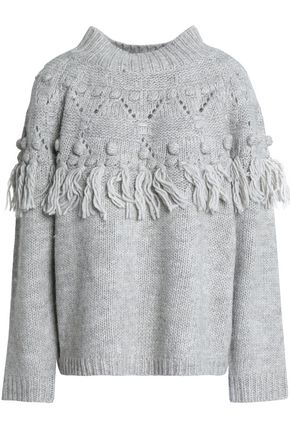 RACHEL ZOE Pompom-embellished tasseled wool-blend sweater
