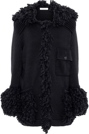PIERRE BALMAIN Fringe-trimmed merino wool-blend cardigan