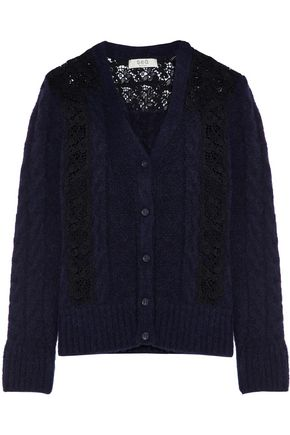 SEA Lace -paneled knitted cardigan