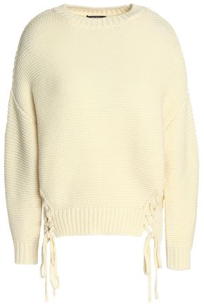 RAOUL Lace-up open-knit merino wool sweater