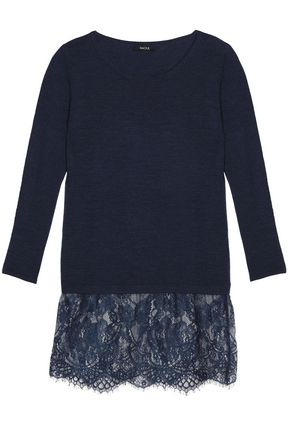 RAOUL Lace-paneled merino wool top