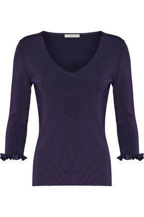 NINA RICCI Ruffle-trimmed cutout ribbed-knit sweater