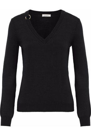 NINA RICCI Ring-embellished wool and silk-blend sweater