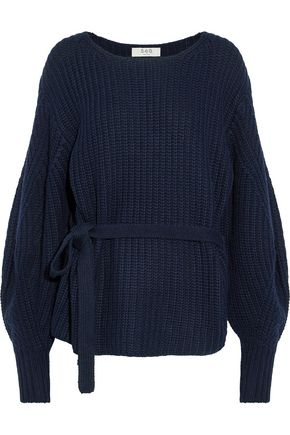 SEA Belted ribbed-knit sweater