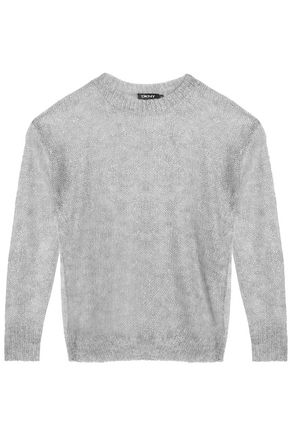 DKNY Open-knit metallic mohair-blend top