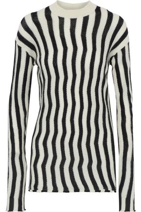 HELMUT LANG Striped open-knit sweater