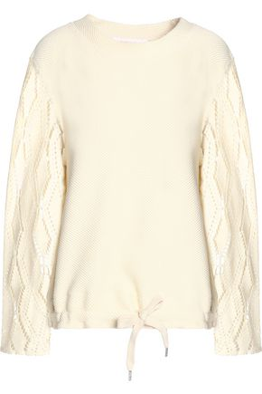 SEE BY CHLOÉ Pointelle-paneled ribbed  cotton-blend sweater