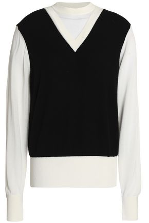 DKNY Jersey-paneled two-tone cashmere sweater
