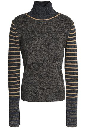 SEE BY CHLOÉ Striped marled wool turtleneck sweater