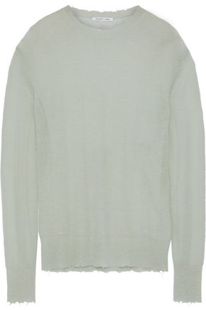HELMUT LANG Distressed ribbed-knit sweater