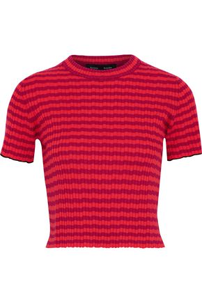 PROENZA SCHOULER Cropped striped ribbed silk and cashmere-blend top