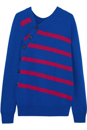 PROENZA SCHOULER Button-detailed striped cashmere and cotton-blend sweater