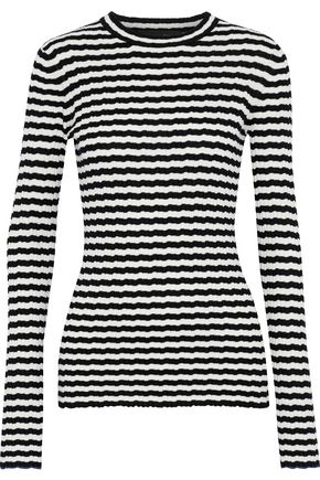 PROENZA SCHOULER Striped ribbed silk and cashmere-blend sweater